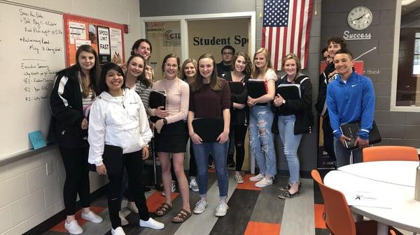 Photos of students and teacher at Horace Mann high school